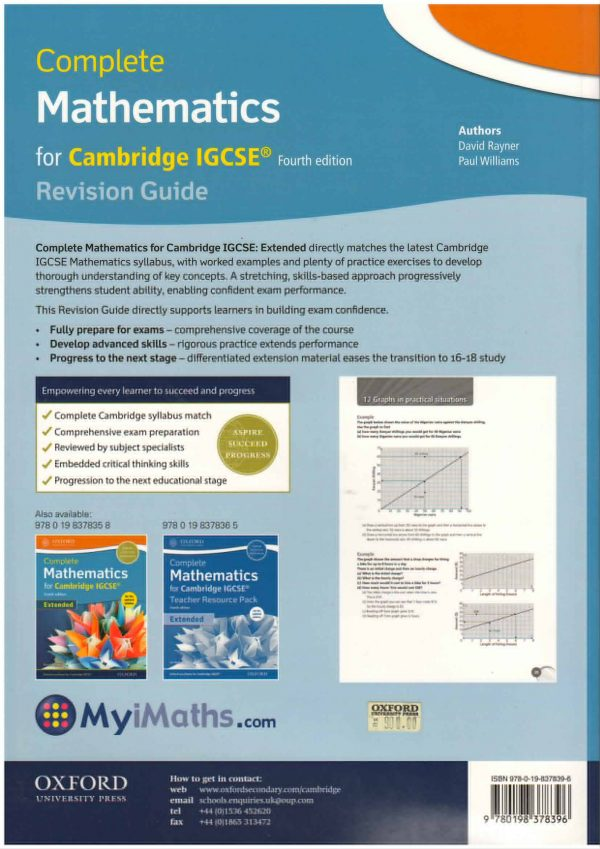 Complete Mathematics for Cambridge IGCSE (R) Revision Guide (Core & Extended)/ David Rayner, Paul Williams